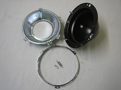 27H8263X MG MGA MGB HEADLAMP BUCKET ASS'Y W/BOWL & CHROME RIM - MG Sales & Service