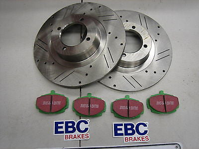MG MGB COMPETITION DISC BRAKE ROTOR KIT - SLOTED DRILLED + EBC GREENSTUFF PADS - MG Sales & Service - 1