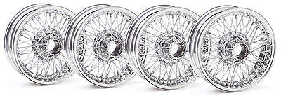 454-635 MGB MG CHROME WIRE WHEEL SET OF 4 BRAND NEW - MG Sales & Service
