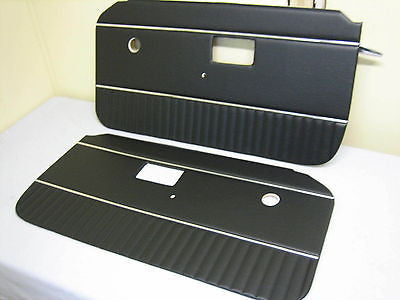 643-631 MG MGB DOOR PANELS BLACK WITH CHROME PIPING BRAND NEW - MG Sales & Service