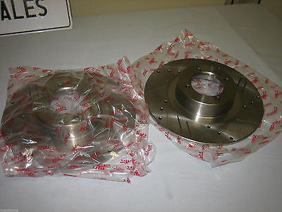 586-605 MG MGB SLOTTED X-DRILLED DISC PAIR NEW - MG Sales & Service - 1
