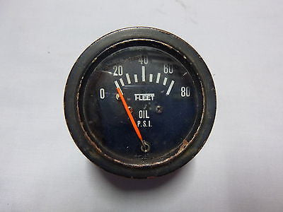 OILGAUGE1 VINTAGE FLEET OIL GAUGE 50mm 0-80 PSI - MG Sales & Service - 1