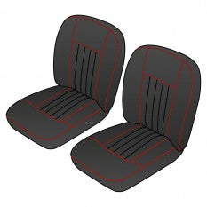 641-180  S/KIT FR MGB 62-68 BLACK/RED PIPING LEATHER