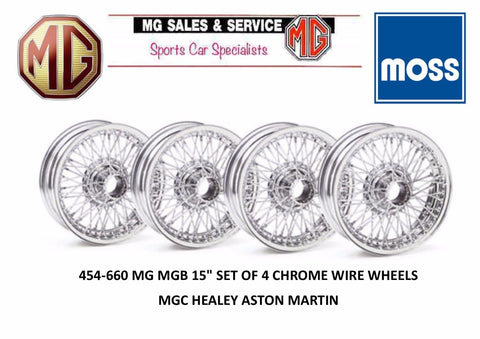 "454-660 WWC459 MG MGB 15"" SET OF 4 CHROME WIRE WHEELS MGC HEALEY ASTON MARTIN"