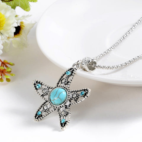 Vintage Long Antique Silver Plated Blue Crystal Turquoise  Starfish Pendant Necklace