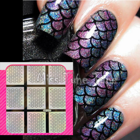 Mermaid Nails Scale Stencils