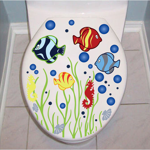 Underwater World Wall Stickers Fish Toilet Cover Decals Decoration
