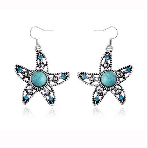 Bohemian Vintage Silver Plated Earrings Starfish Turtle Turquoise