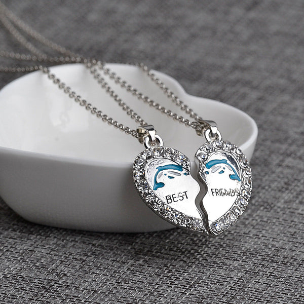Dolphin Best Friends Crystal Pendant Necklace 2 pcs Set