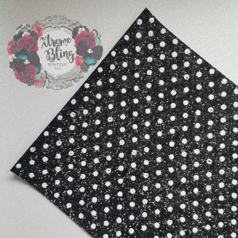 Black w/ White Dots Chunky Glitter Sheet (8inx13in)(13E)