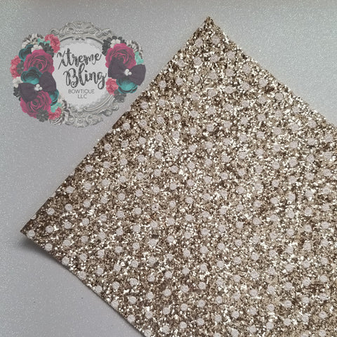 Gold w/ White Dots Chunky Glitter Sheet (8inx13in)(13F)