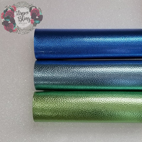Blue/Green Pebble Metallic w/ Felt Back Sheet (8inx13.5in)