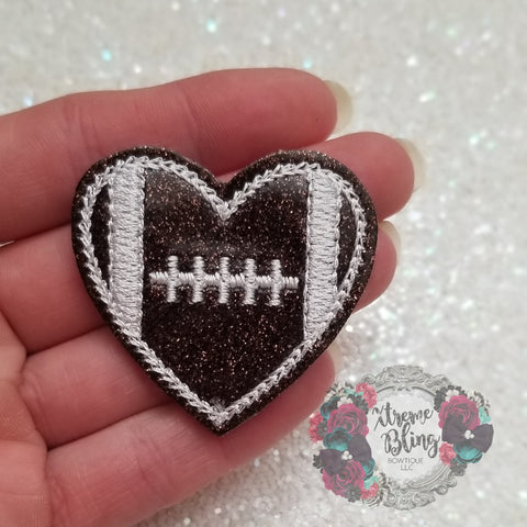 Heart Football Felt Bow Center (Includes 1)