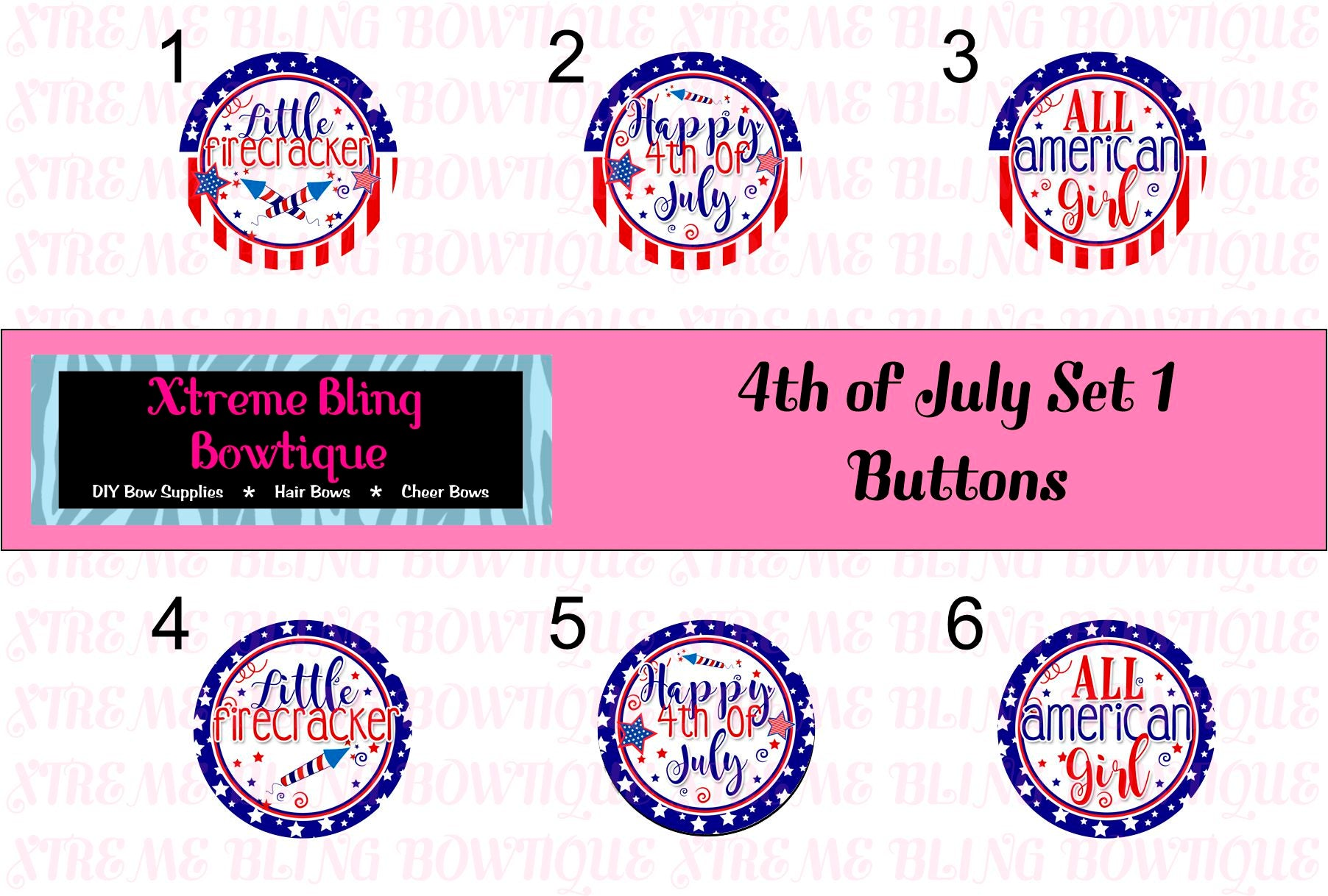 4th of July Set 1 Button Flat Back, Pin Back, Magnet or Bottle Cap