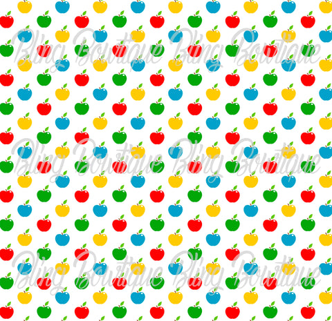 School Days Apples Colored Printed Glitter Canvas, Regular Canvas, Faux Leather For Bows