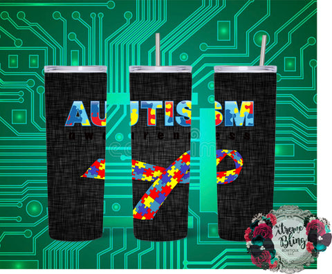 Autism Ribbon Ready To Press Sublimation Print for 20oz Straight Skinny Tumbler