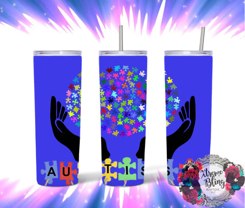 Autism Ready To Press Sublimation Print for 20oz Straight Skinny Tumbler