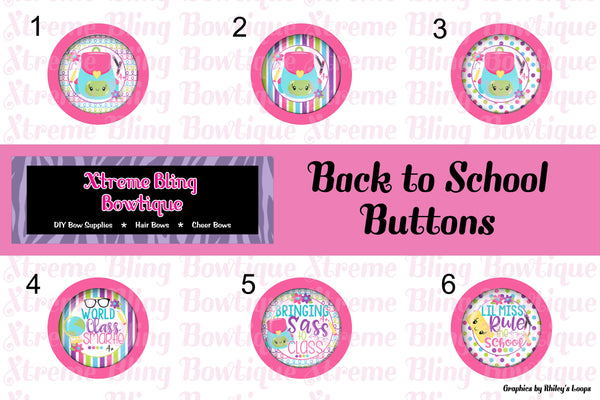 Back to School Button Flat Back, Pin Back, Magnet or Bottle Cap