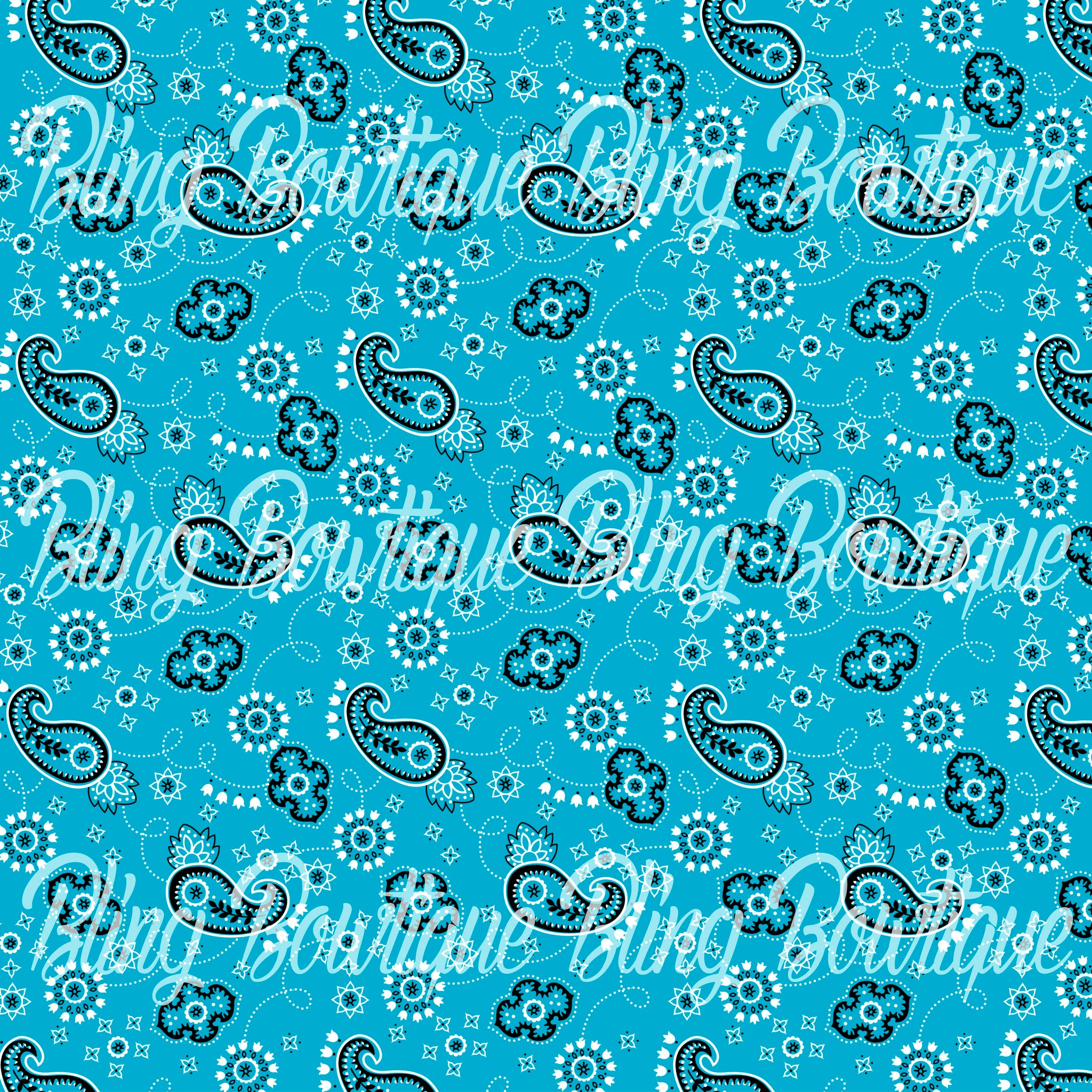 Bandana Blue Glitter Canvas, Regular Canvas, Faux Leather For Bows