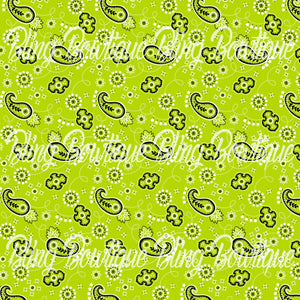 Bandana Lime Green Glitter Canvas, Regular Canvas, Faux Leather For Bows