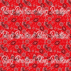 Bandana Red Glitter Canvas, Regular Canvas, Faux Leather For Bows