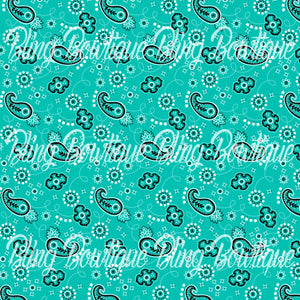 Bandana Teal Glitter Canvas, Regular Canvas, Faux Leather For Bows