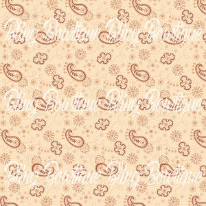 Bandana Vintage Light Brown Glitter Canvas, Regular Canvas, Faux Leather For Bows
