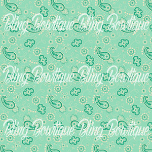 Bandana Vintage Lime Glitter Canvas, Regular Canvas, Faux Leather For Bows