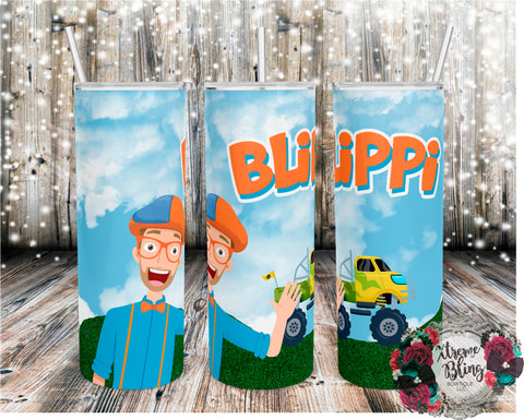 Blippi With Monster Truck Ready To Press Sublimation Print for 20oz Straight Skinny Tumbler or 20oz Tapered Skinny Tumbler (W)