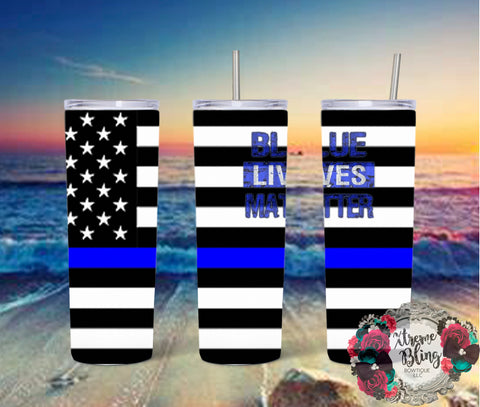 Blue Lives Matter Ready To Press Sublimation Print for 20oz Straight Skinny Tumbler