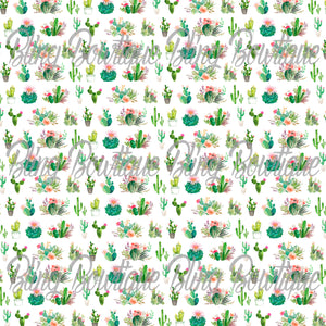Cacti Watercolor Printed Glitter Canvas, Regular Canvas, Faux Leather For Bows