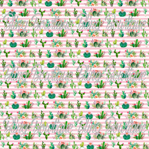 Cacti on Pink Stripes Printed Glitter Canvas, Regular Canvas, Faux Leather For Bows