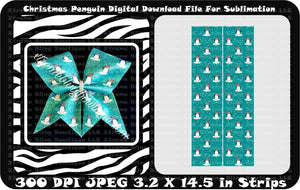 Christmas Penguin Cheer Bow Sublimation Strips Download File