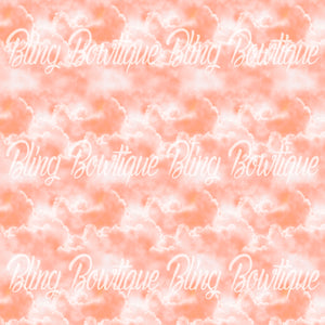 Clouds Peach Glitter Canvas, Regular Canvas, Faux Leather For Bows