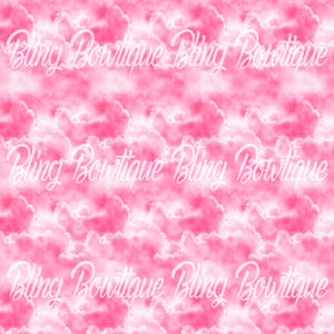 Clouds Pink Glitter Canvas, Regular Canvas, Faux Leather For Bows