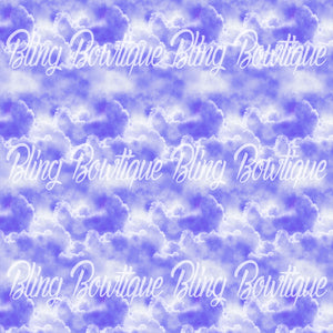 Clouds Purple Glitter Canvas, Regular Canvas, Faux Leather For Bows