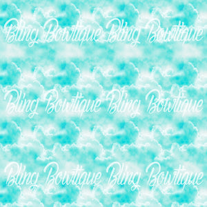 Clouds Teal Glitter Canvas, Regular Canvas, Faux Leather For Bows