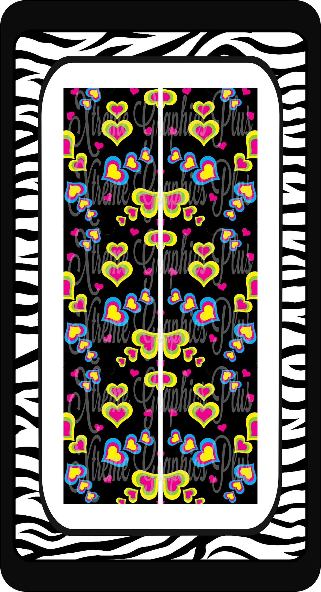 Colorful Hearts Ready to Press Sublimation Bow Strips