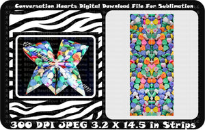 Conversation Hearts Cheer Bow Sublimation Strips download File