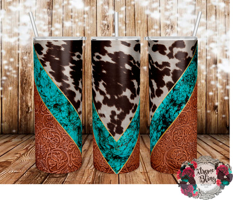 Cowhide & Turquoise Ready To Press Sublimation Print for 20oz Straight Skinny Tumbler or 20oz Tapered Skinny Tumbler