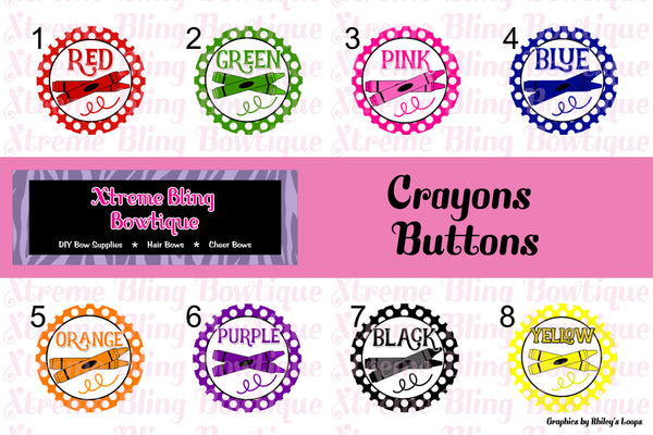 Crayons Button Flat Back, Pin Back, Magnet or Bottle Cap