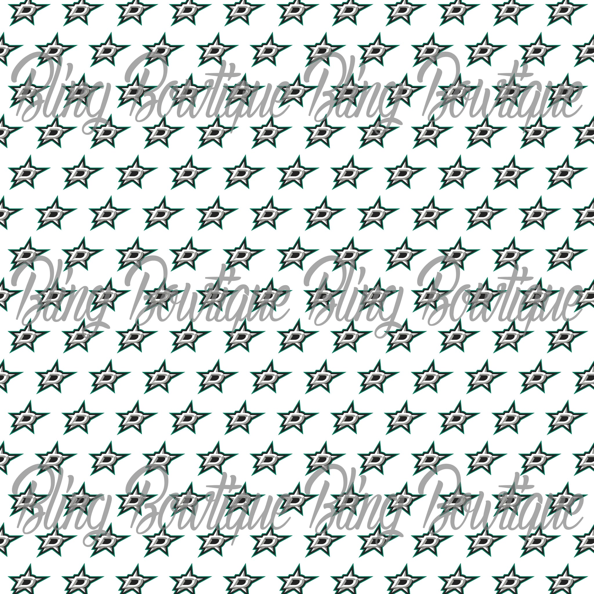 Dallas Stars Printed Glitter Canvas, Regular Canvas, Faux Leather For Bows