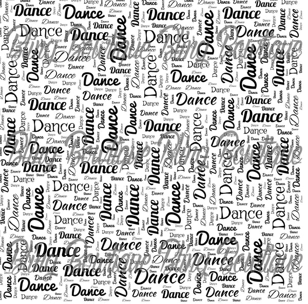 Dance Words Collage Printed Glitter Canvas, Regular Canvas, Faux Leather For Bows