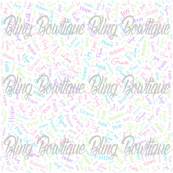 Religious Words Collage Glitter Canvas, Regular Canvas, Faux Leather For Bows