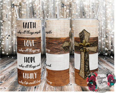 Faith Love Hope Family Wood Cross Ready To Press Sublimation Print for 20oz Straight Skinny Tumbler or 20oz Tapered Skinny Tumbler