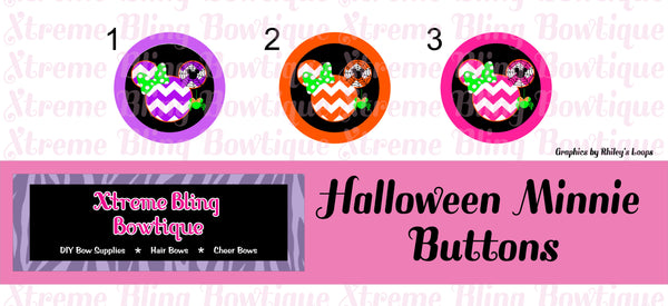 Halloween Minnie Button Flat Back, Pin Back, Magnet or Bottle Cap