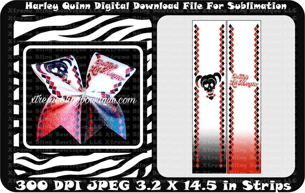 Harley Quinn Daddy's Little Monster Cheer Bow Sublimation Strips Download