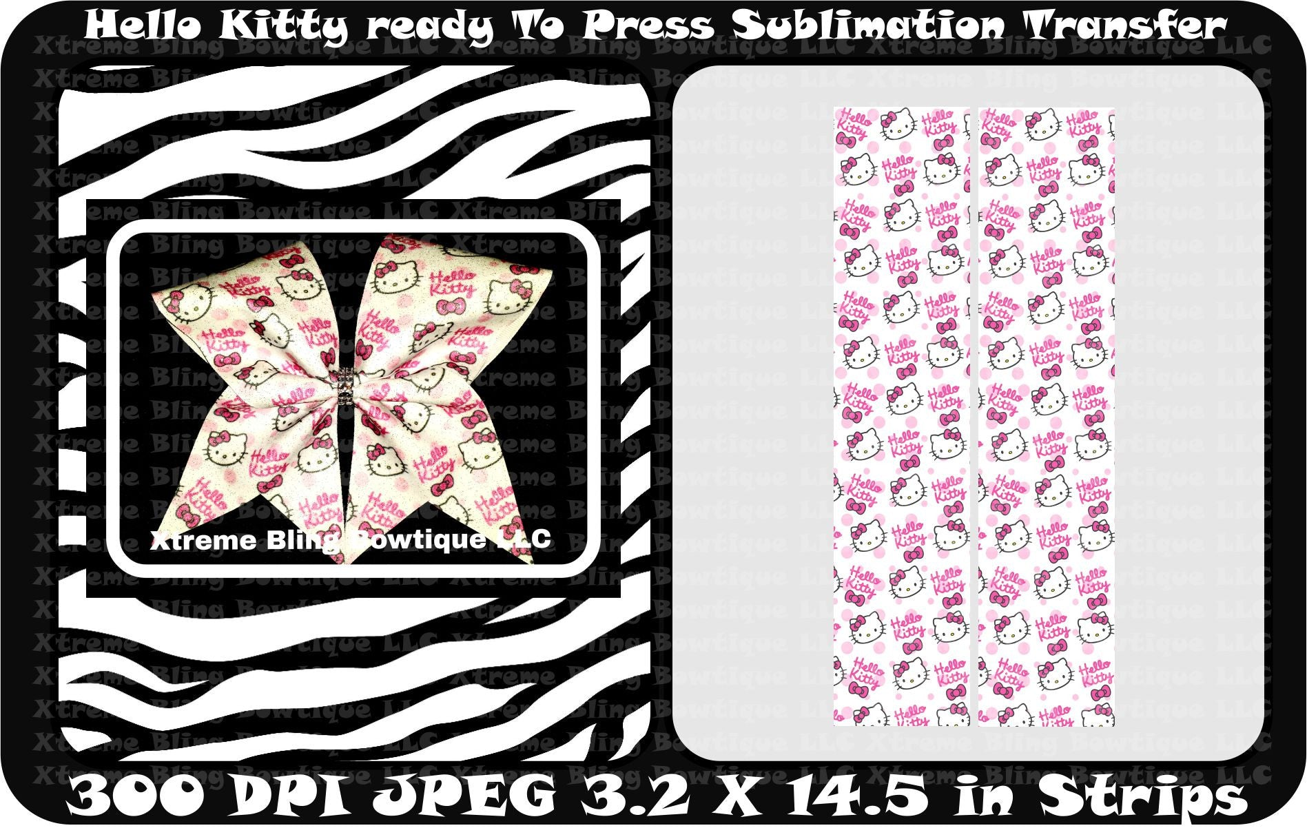 Hello Kitty Ready to Press Sublimation Bow Strips