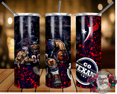 Houston Texans (C) Ready To Press Sublimation Print for 20oz Straight Skinny Tumbler or 20oz Tapered Skinny Tumbler (W)