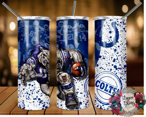 Indianapolis Colts (C) Ready To Press Sublimation Print for 20oz Straight Skinny Tumbler or 20oz Tapered Skinny Tumbler (W)